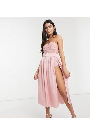 Jaded Rose Petite Vestito con gonna al polpaccio e dettaglio con corsetto