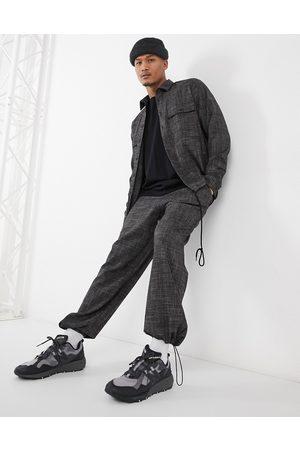 ASOS Uomo Chinos - Pantaloni con fondo ampio in tessuto a tratteggio incrociato in coordinato