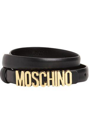 Moschino Cintura In Pelle Con Logo 2cm