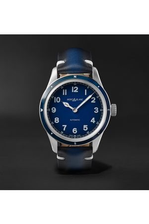 Mont Blanc Uomo Orologi - 1858 Automatic 40mm Stainless Steel and Leather Watch, Ref. No. 126758