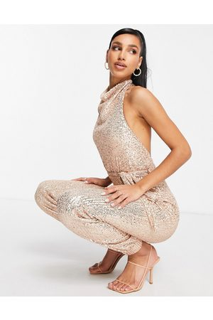 Club L Tuta jumpsuit accollata con paillettes rosa