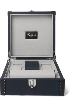 Rapport London Uomo Orologi - Kensington Leather-Trimmed Studded Cedar Wood Watch Case