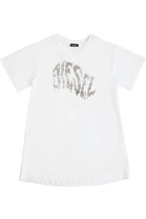 Diesel Vestito In Jersey Di Cotone Con Logo