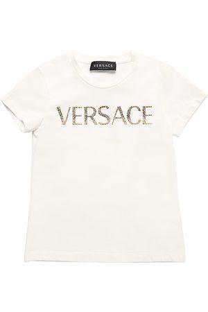 VERSACE T-shirt In Jersey Di Cotone Con Logo