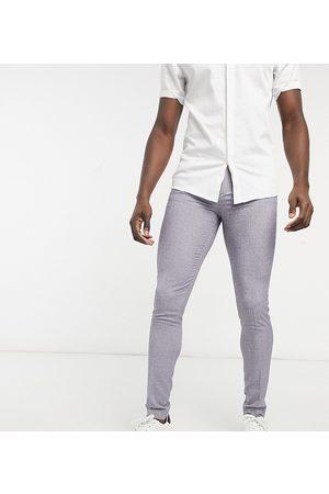 ASOS Tall Wedding - Pantaloni da abito super skinny scuro con tratteggio incrociato