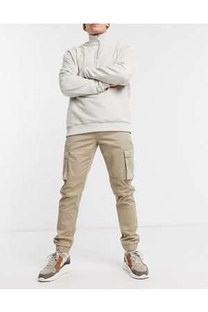 Only & Sons Pantaloni cargo slim pietra con fondo elasticizzato