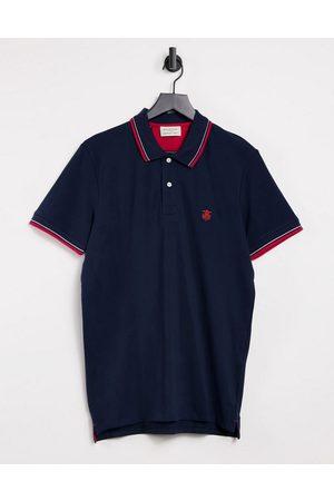 Selected Polo navy con righe a contrasto rosse su maniche e colletto