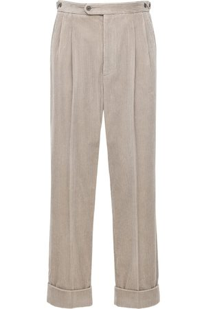 Gucci Pantaloni Millerighe Con Patch In Pelle