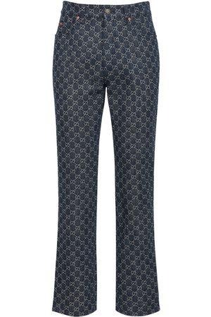Gucci Jeans In Denim Gg Jacquard Con Pelle