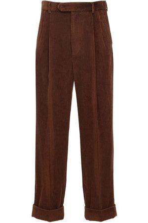 Gucci Pantaloni Millerighe Con Patch In Pelle