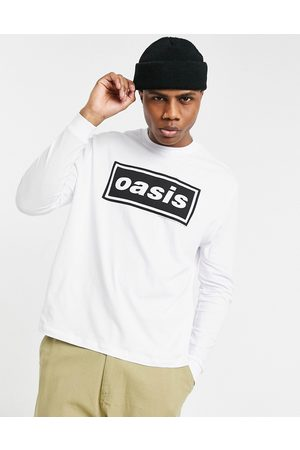 ASOS Oasis - T-shirt comoda a maniche lunghe bianca con stampa sul davanti