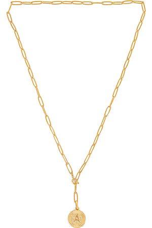 BRACHA Initial Medallion Lariat Necklace in - Metallic . Size A (also in B, C, D, E, G, H, J, K, L, M, N, P, R, S, T).