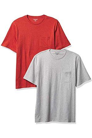 Amazon 2-Pack Regular-Fit Crew Pocket T-Shirt Fashion-t-Shirts, Orange Heather/Light Heather Grey, 58-60, Pacco da 2