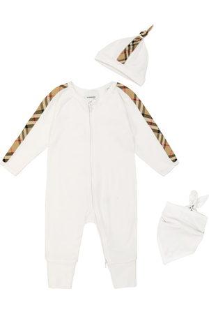 Burberry Baby - Tutina, berretto e bavaglino in cotone