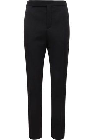 Saint Laurent Pantaloni In Lana Con Bande In Raso 16.5cm