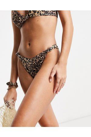 ASOS Slip bikini Mix and Match sgambati a vita bassa con nodi e stampa leopardata