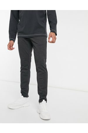Only & Sons Pantaloni eleganti stretch scuro gessato