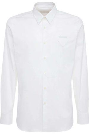 Prada Camicia In Popeline Di Cotone Con Logo