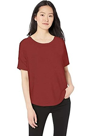 Daily Ritual Jersey Rib Trim Drop-Shoulder Short-Sleeve Scoop-Neck Shirt Shirts, Mattone, 46-48