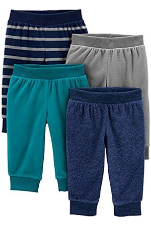 Simple Joys by Carter's Neonati Pantaloni - 4-Pack Fleece Infant-And-Toddler-Pants, Heather/Righe, 6-9 Mesi, Pacco da 4