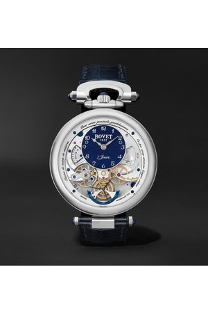 BOVET Uomo Orologi - Monsieur Hand-Wound 43mm 18-Karat White Gold and Leather Watch, Ref. No. AI43018