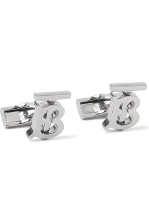 Burberry Logo Palladium-Plated Cufflinks