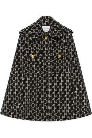 Gucci Mantella in lana effetto feltro con GG jacquard