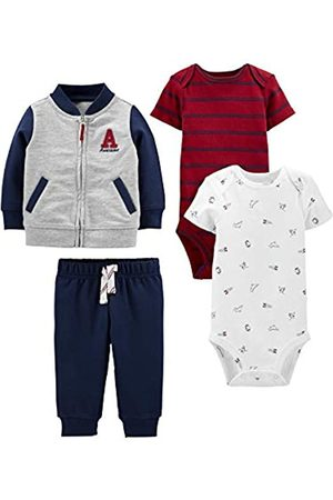 Simple Joys by Carter's Neonati Set - 4-Piece Fleece Jacket, Pant, And Bodysuit Set Infant Toddler-Pants-Clothing-Sets, Blue/Red, 12 Months