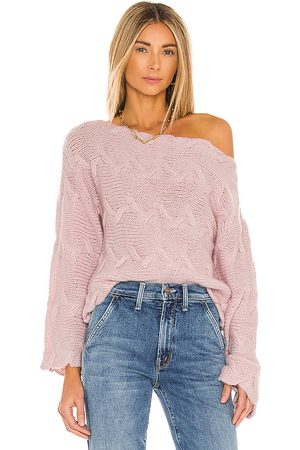 House of Harlow X REVOLVE Elaina Braided Sweater in - Blush. Size L (also in M, S, XS).