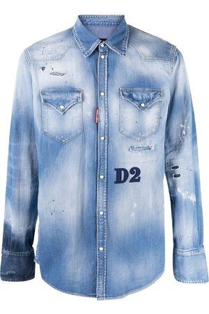 Dsquared2 Camicia denim con effetto vissuto