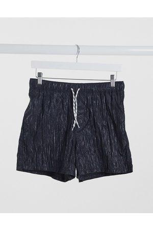 ASOS Pantaloncini da bagno stropicciati neri corti