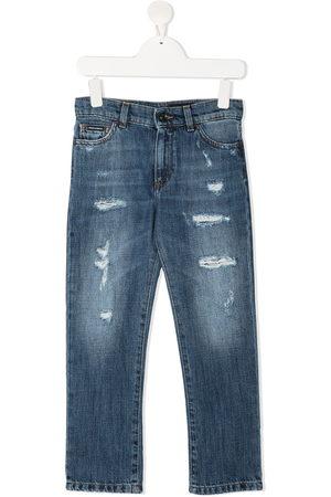 Dolce & Gabbana Kids Jeans dritti con effetto vissuto