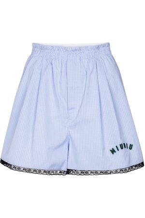 Miu Miu Shorts a quadri in cotone