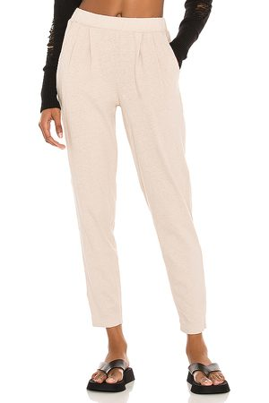 Bobi Sustainable Cotton Linen Pants in - Cream. Size L (also in M, S, XS).