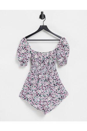 Fashion Union Esclusiva - Tuta corta da mare stile milkmaid a fiori