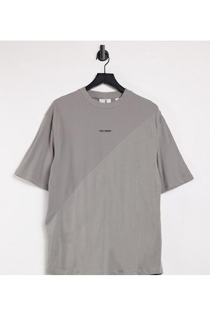 COLLUSION Unisex - T-shirt oversize con cut and sew tono su tono
