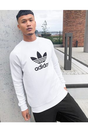 adidas Uomo Felpe - Felpa bianca con grande trifoglio