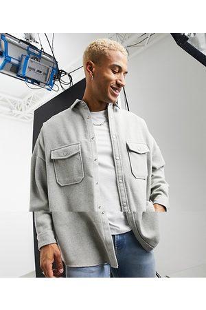 ASOS Camicia oversize in misto lana chiaro