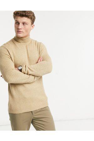 ASOS Maglione con collo alto lavorato a maglia soffice color cammello-Cuoio