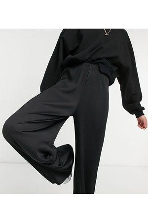 ASOS ASOS DESIGN Tall - Pantaloni plissé neri con fondo ampio