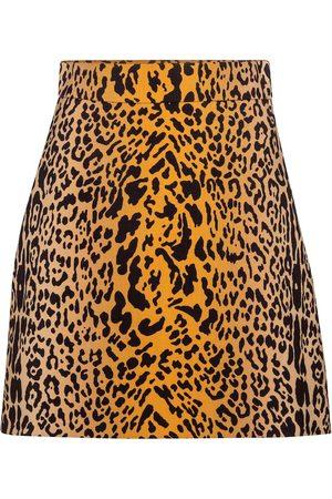 Miu Miu Minigonna a stampa leopardata in lana e mohair