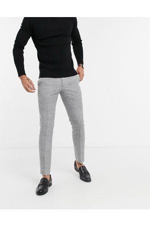 MOSS BROS Moss London - Pantaloni da abito slim fit a quadri neri e bianchi