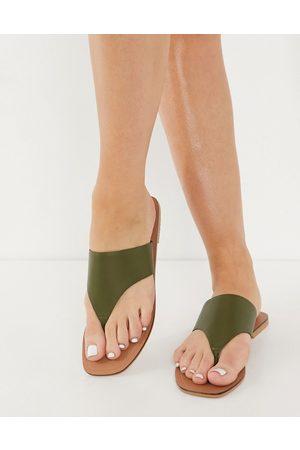 ASOS Folly - Sandali infradito in pelle color kaki