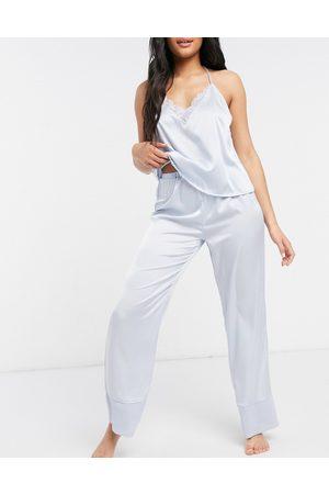ASOS Pantaloni del pigiama mix and match in raso blu con bordo a contrasto