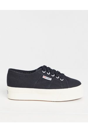 Superga 2790 Linea - Sneakers flatform nere in tela con suola bianca