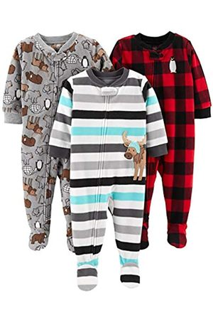 Simple Joys by Carter's Baby and Toddler - Pigiama in pile con piedini ,Arctic Animals/Stripe Mouse/Buffalo Check ,3T