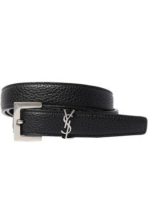 """Saint Laurent Cintura """"monogram"""" In Pelle 2cm"""