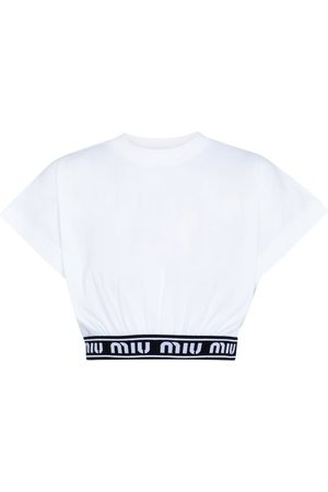 Miu Miu Top cropped in cotone