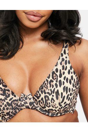 ASOS Donna Bikini - Coppe Grandi - Top bikini Mix and Match leopardato a coste con ferretto e davanti asimmetrico