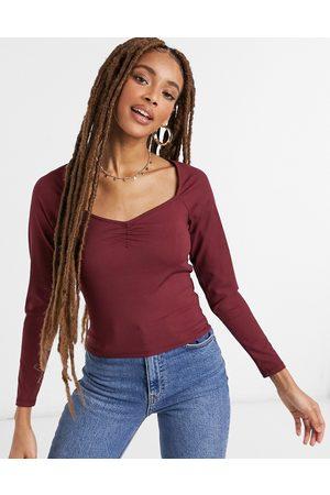 Monki Donna Maniche lunghe - Monique - Top a maniche lunghe color vino